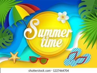Summertime paper cut illustration. Tropical landscape with ocean waves, sand, palm leaves, beach umbrella, flip-flops, sunglasses, starfish. Beach holidays poster, banner summer card template.