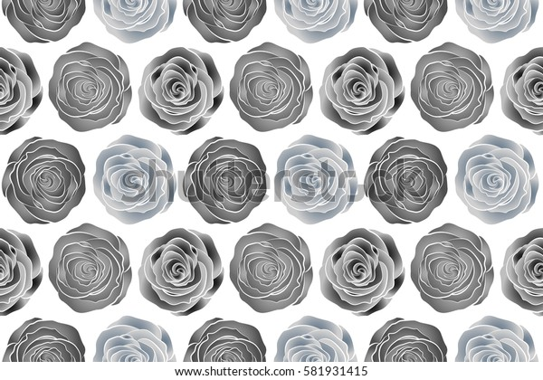 Summertime raster floral seamless pattern. Abstract background composition with rose flowers in gray and neutral colors, splashes, doodles and stylized flowers.
