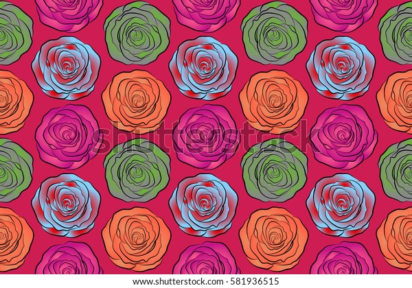 Summertime raster floral seamless pattern. Abstract background composition with rose flowers in orange, magenta and red colors, splashes, doodles and stylized flowers.