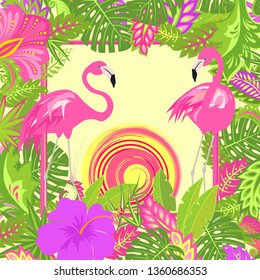 Summery floral background with tropical leaves, pair of lovely pink flamingo, hot sun and exotic flowers for Tshirt, summer party poster, bag design