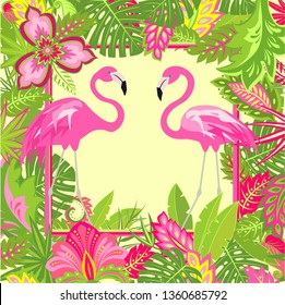 Summery floral frame with tropical leaves, pair of lovely pink flamingo and exotic flowers for Tshirt, summer party poster and wedding invitation