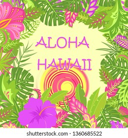 Summery greeting card with Aloha Hawaii lettering, tropical leaves, hot sun and exotic flowers for bag, Tshirt, party poster and other design