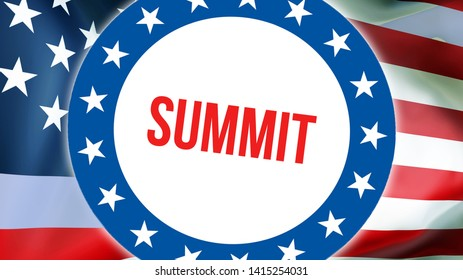 summit election on a USA background, 3D rendering. United States of America flag waving in the wind. Voting, Freedom Democracy, summit concept. US Presidential election banner