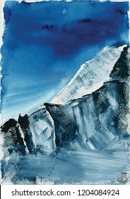"Summit ""Manaslu"", Himalayan mountain landscape, watercolors, snowy peaks"