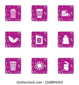 Sump icons set. Grunge set of 9 sump icons for web isolated on white background