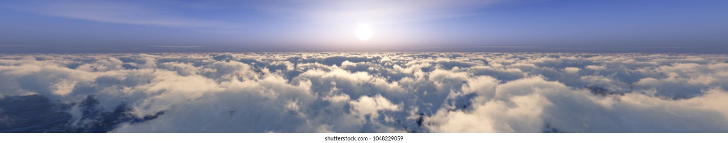 sun above the clouds, panorama 3D rendering