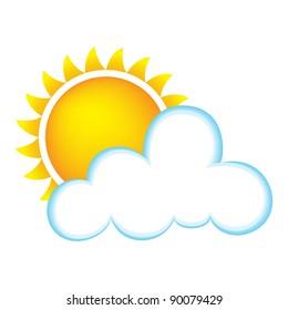 Sun and Cloud - Bitmap Illustration