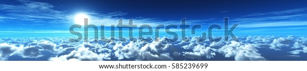 Sun in the clouds, view of clouds and sun in the sky, 3d rendering