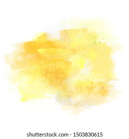 Sun colors Artistic watercolor aquarelle background isolated on white with copy space