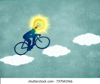 sun cyclist with clouds digital illustration