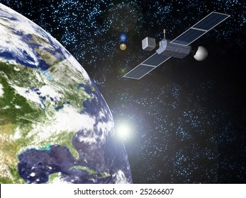 sun earth and satellite