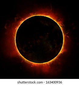 sun eclipse on the black background