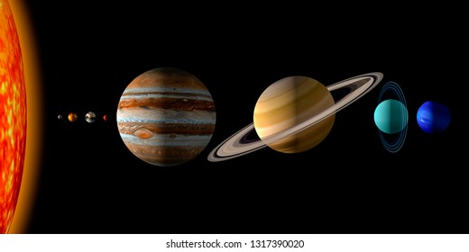 Sun and the eight planets of the solar system on black background. Realistic 3d rendering illustration of the planets size. With copy or text space. Surface textures furnished by Nasa.