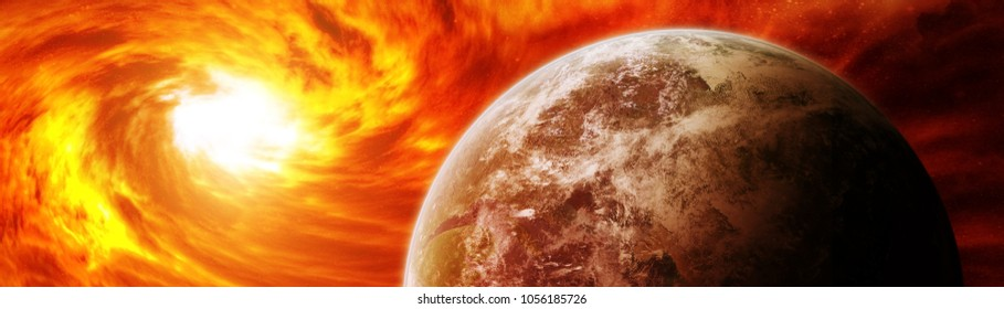 Sun exploding close to inhabited planets system 3D rendering elements of this image furnished by NASA