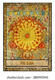 The sun. Full colorful deck, major arcana. The old tarot card, vintage hand drawn engraved illustration with mystic symbols.