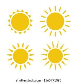 Sun icon illustration. Sunshine isolated set. Sun logo