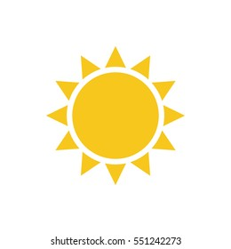 Sun icon. Light sign with sunbeams. Yellow design element, isolated on white background. Symbol of sunrise, heat, sunny and sunset, sunlight. Flat modern style for weather forecast Illustration
