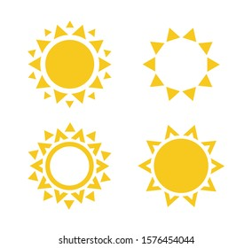 Sun icon set. Summer rest sign. Travel agency logo template. Sunny circle concept design. Isolated illustration collection on white background.