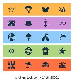 Sun icons set with lifebuoy, pool, butterfly and other swimming elements. Isolated  illustration sun icons.