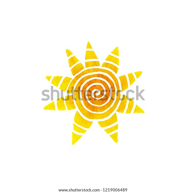 Sun isolated on a white background. Watercolor hand drawn paper raster texture illustration in cute minimalistic style.