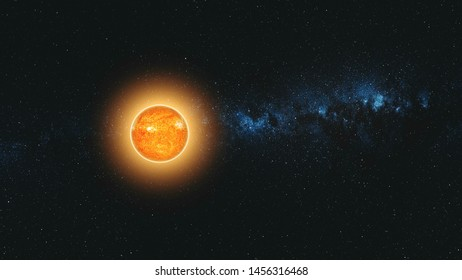 Sun Lit Earth Fast Motion Reduce Sight Zoom Out. Flare Sunlight Planet Starry Galaxy Deep Outer Space Navigation. Universe Exploration Concept 3D Animation