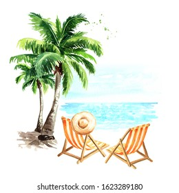 Sun loungers, sun hat and palm trees, summer vacation concept. Hand drawn watercolor illustration isolated on white background
