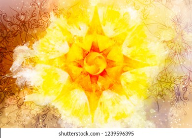 Sun mandala and watercolor and ornamental background.