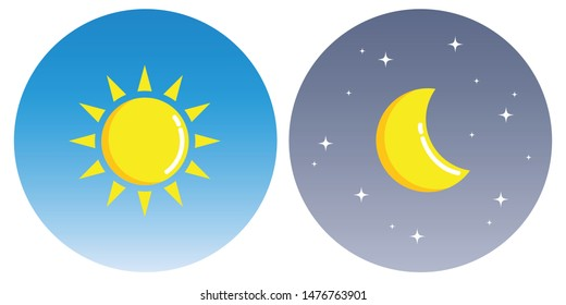 sun and moon with clouds in circle day and night concept illustration