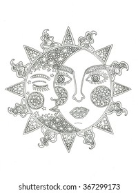 Sun And Moon Coloring Pages - GetColoringPages.com | 280x200