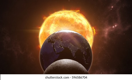 Sun, moon and earth globes. Eclips in cosmic scene. 3D rendering