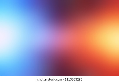 Sun and moon lights empty background. Gradient blue red yellow abstract texture. Cosmic blurred template. Warm and cold defocused illustration.