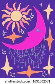 Sun Moon Stars Jewels Purple Dream Illustration
