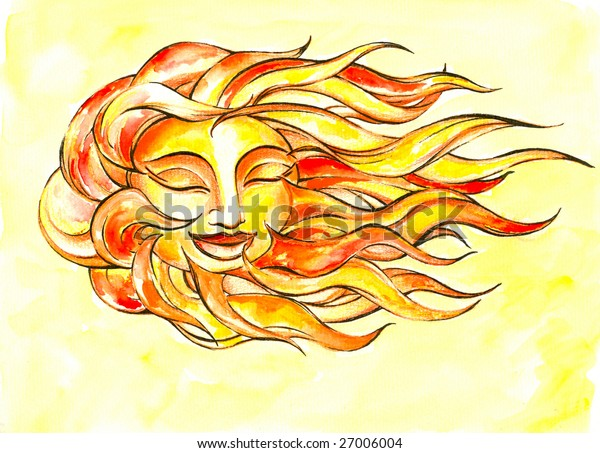 Sun on the wind watercolor painted.Picture I have created myself.