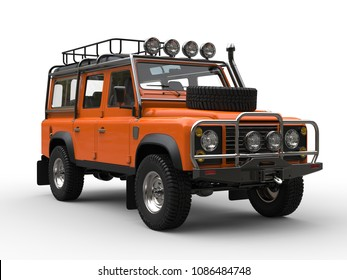 Sun orange heavy off road vehicle - closeup shot - 3D Illustration