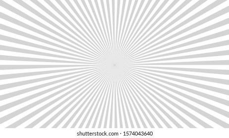 Sun rays background. Gray radiate sun beam burst effect. Sunbeam light flash boom. Template starburst poster. Sunlight star, sunrise glow burst. Solar radiance glare, retro design illustration