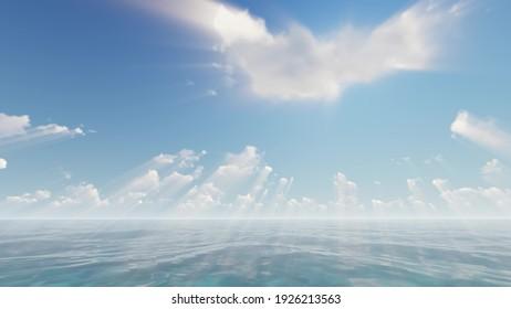 Sun rays god nature sky sea beam 3d render