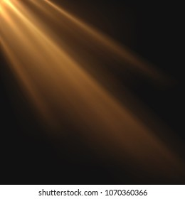 Sun rays light on black background. Graphic concept for your design