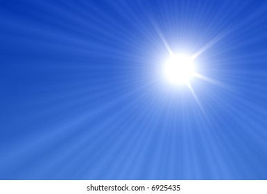 Sun and Sun rays over a blue Background