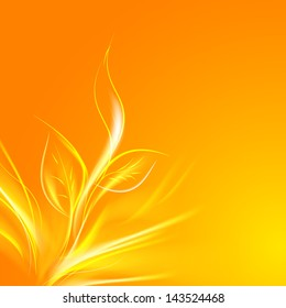 Sun rays pass through the orange leaves.  illustration