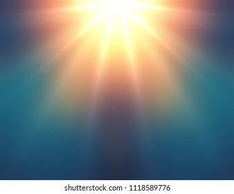 Sun rays shining on deep blue green blurred background. Abstract texture. Miracle light empty template. Fantasy defocused illustration.