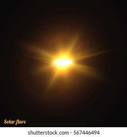 Sun realistic isolated. Effect of sunlight . Glow light effect.