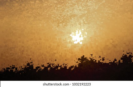 sun reflected in the lake, tribute to Pollock, abstract expressionism, art, digital, abstract illustration with mosaic effects of gradient colors yellow, orange, white, black,