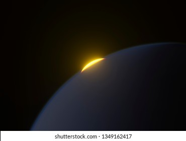 sun rising behind a blue planet 3d rendering