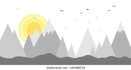 Sun sets behind the mountains minimal art