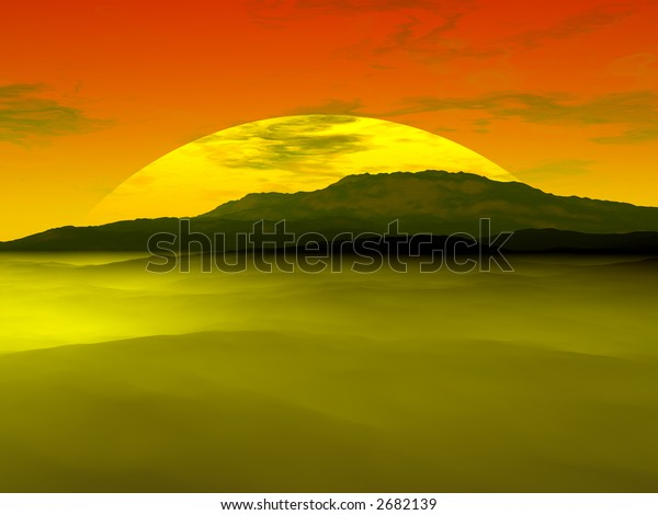Sun setting behind a canyon hill with fog rolling in, render.