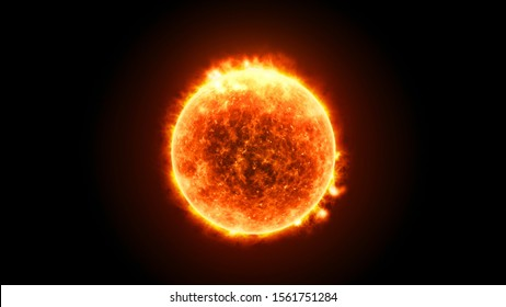 Sun Solar Atmosphere on black background. Splashes of prominences, hot sun flares on the surface. 3D Solar illustration in High Quality. Space view. Science footage