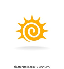Sun spiral logo. Simple sunshine stylized tribal symbol.