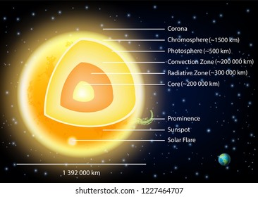 Sun structure diagram. illustration of sun internal structure with layers, sunspots, solar flare and prominence. Educational poster, scientific infographic, presentation template.
