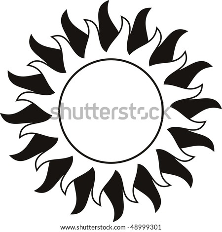 Sun Tattoo Black White Stock Illustration Royalty Free Stock