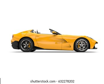 Sun yellow modern convertible super sports car - side view - 3D Illustration